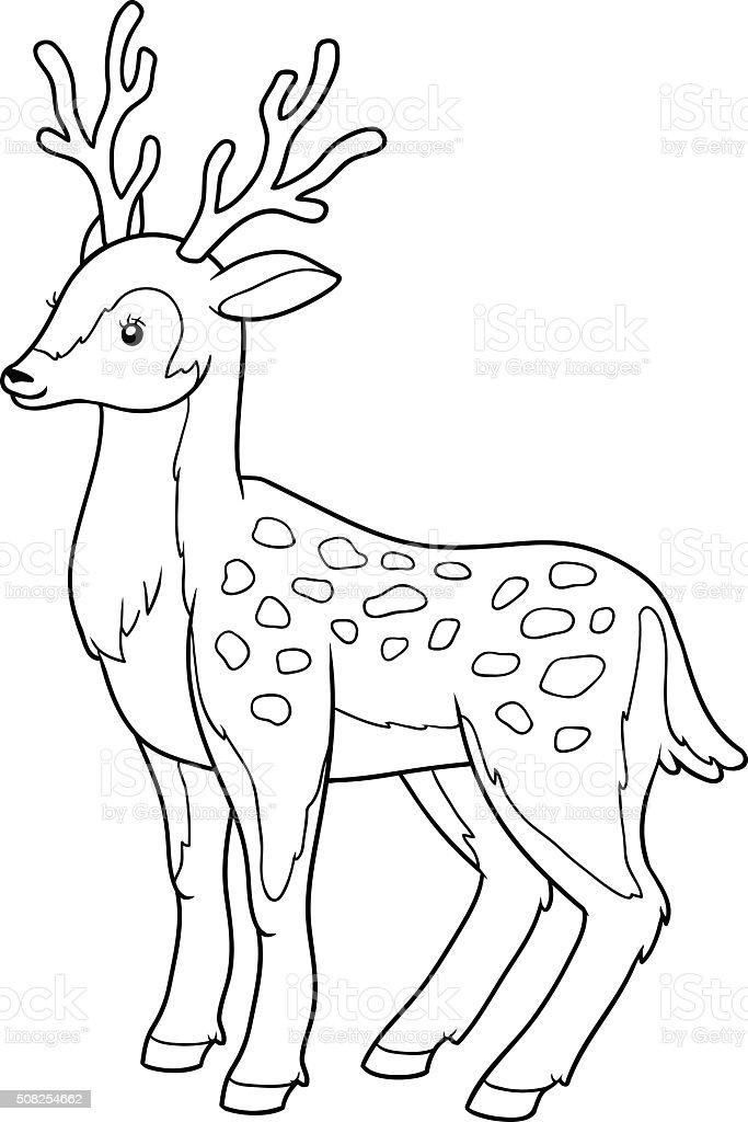 Livre de coloriage pour les enfants (deer - Illustration vectorielle