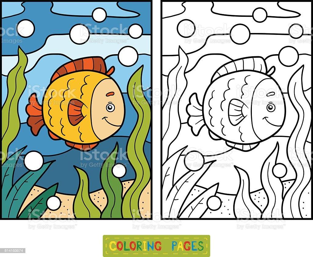 Ilustración de Libro Para Colorear Con Los Niños Pescado Y De Fondo ...