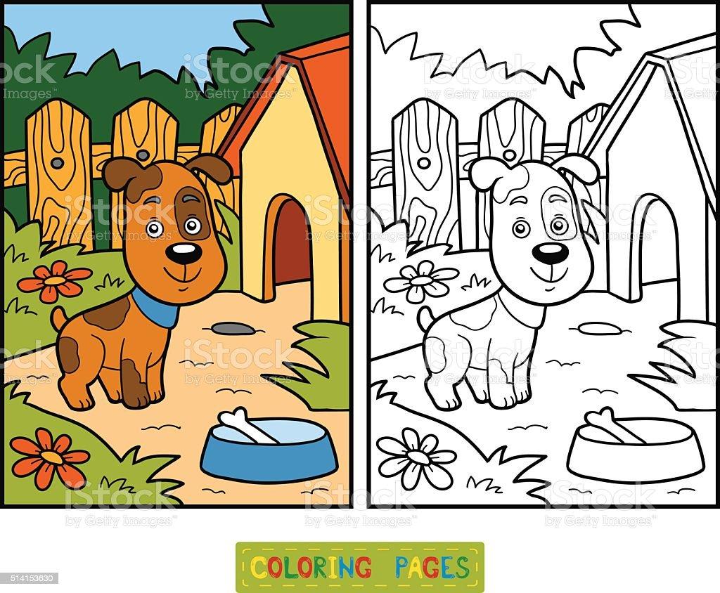 Ilustración de Libro Para Colorear Con Los Niños Perro Y De Fondo y ...