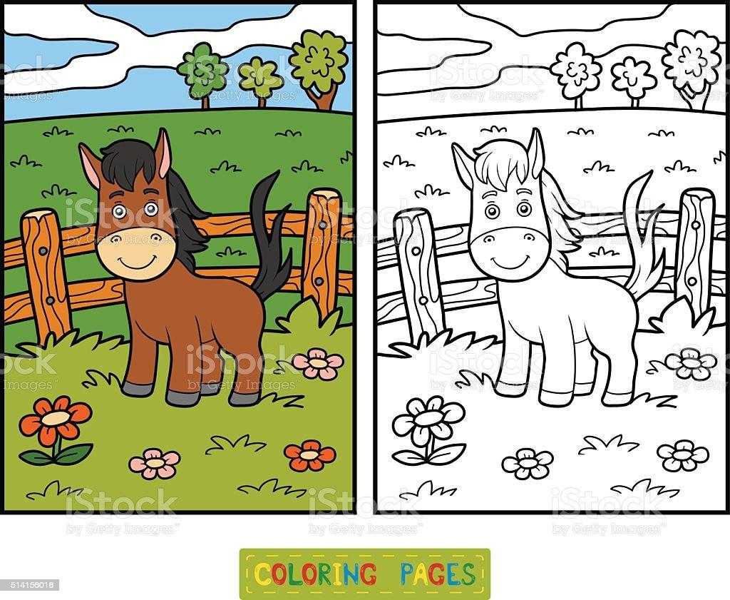 Ilustración De Libro Para Colorear Con Los Niños Caballos Y De Fondo