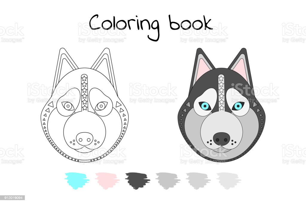 Libro De Colorear Para Los Niños Vector Ilustración Perro ...