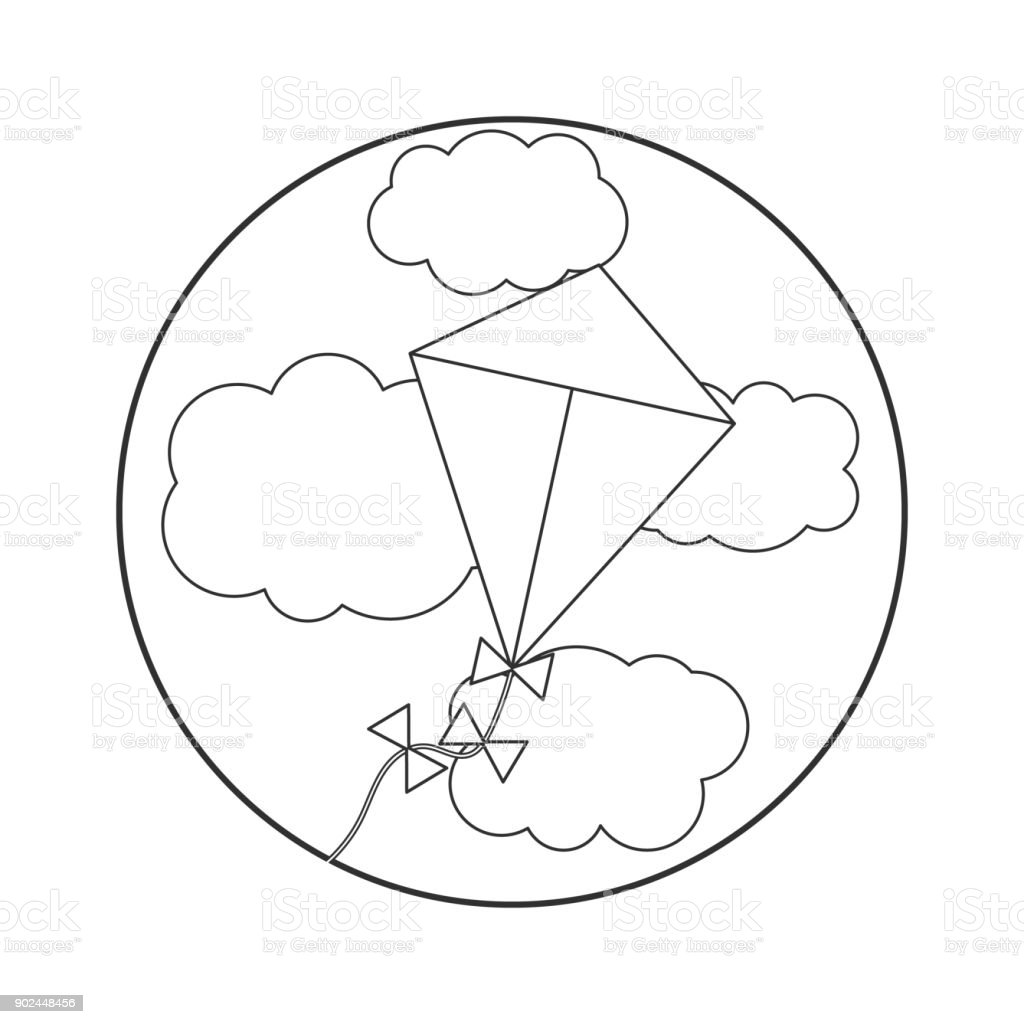 çocuklar Için Boyama Kitabı Vektör çizim Gökyüzünde Uçurtma Stok