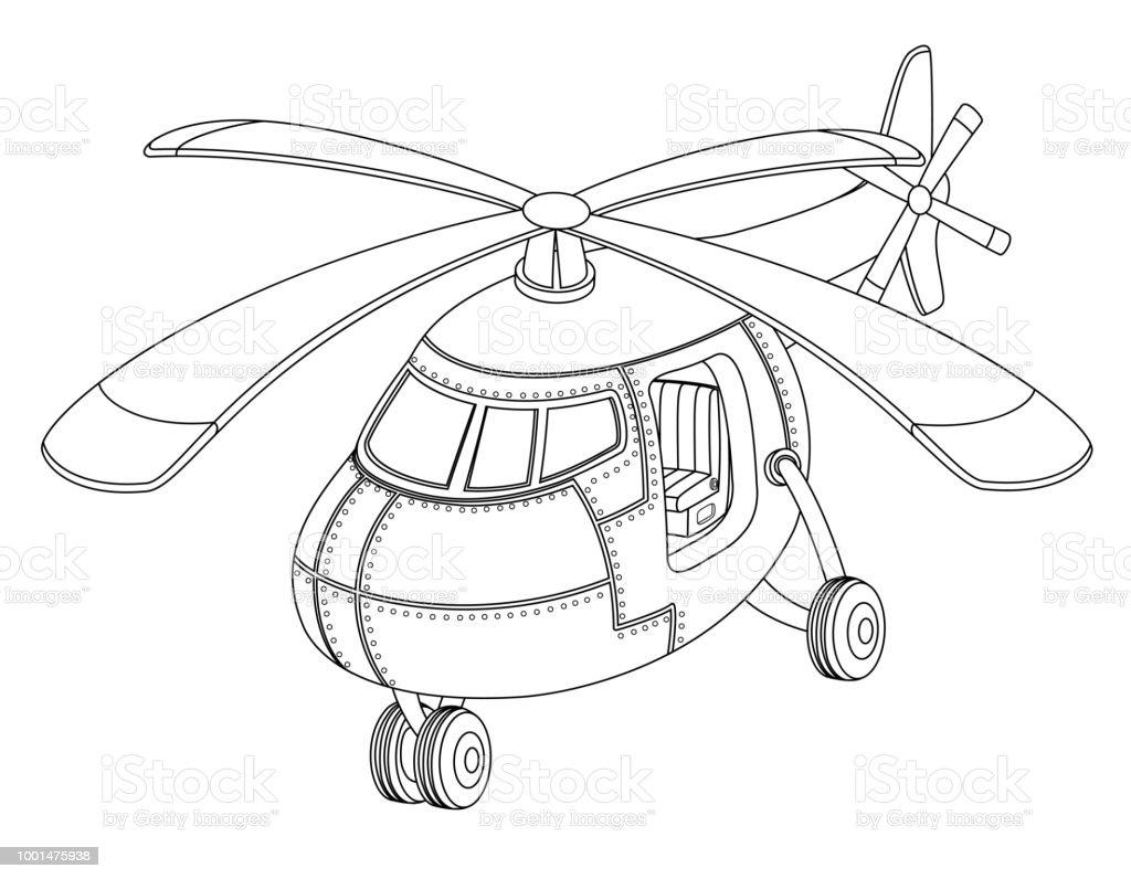 Bir Helikopter Olan Cocuklar Icin Boyama Kitabi Stok Vektor Sanati