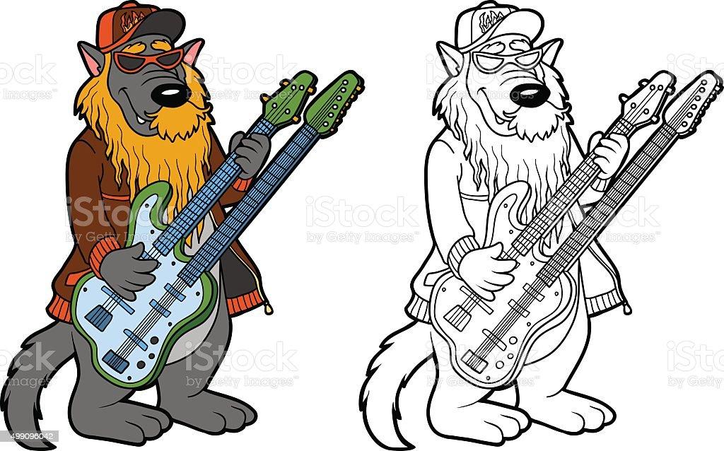 Ilustración de Libro Para Colorear Con Los Niños Lobo Y Dos Cuello ...