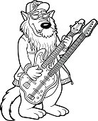 Coloring book for children: wolf and two-neck guitar