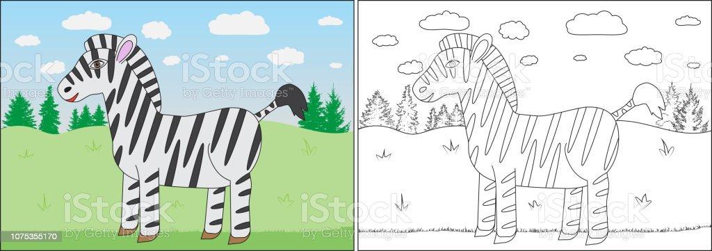 Livre De Coloriage Pour Les Enfants Caricature De Zebre Sur Fond