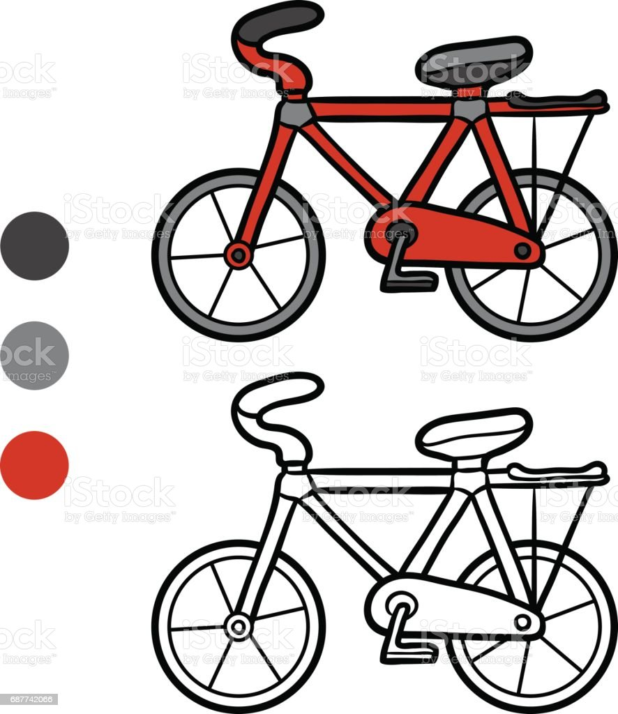 Cocuklar Icin Boyama Kitabi Bisiklet Stok Vektor Sanati Anaokulu