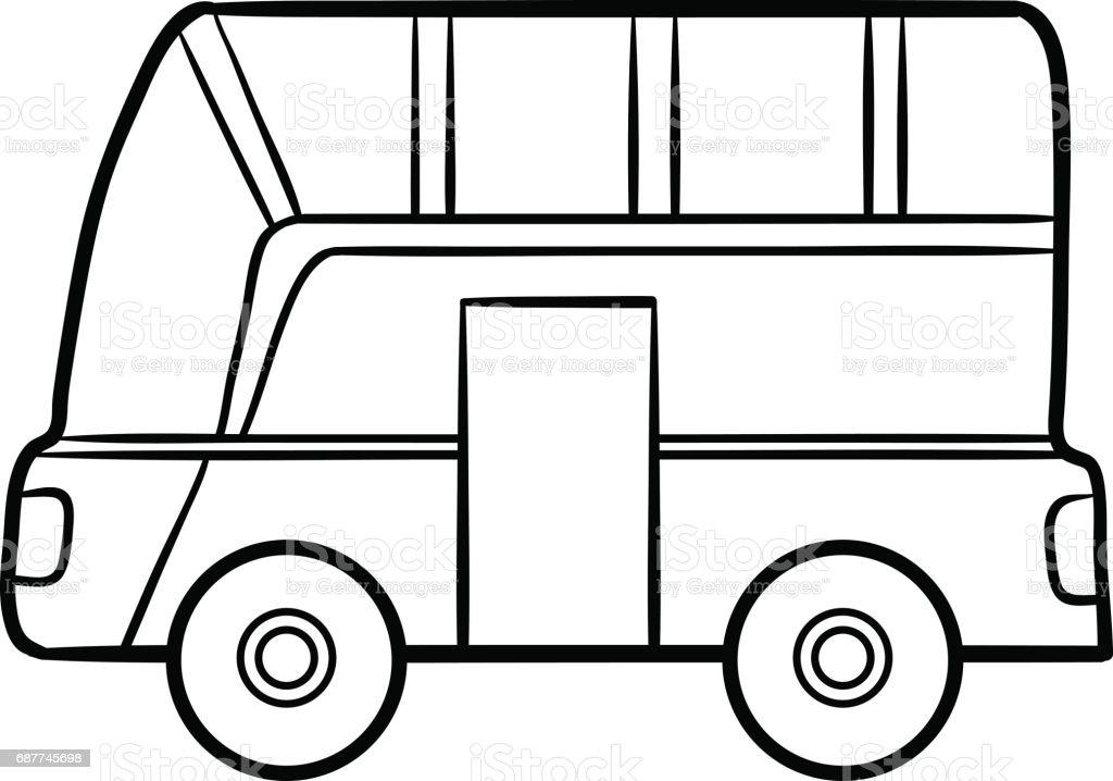 Cocuklar Icin Boyama Kitabi Otobus Stok Vektor Sanati Anaokulu