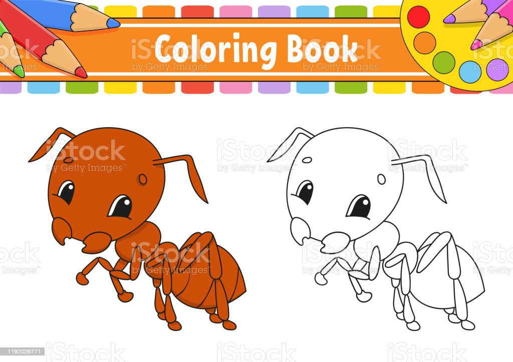 - Coloring Book For Kids Cheerful Character Vector Color Illustration Cute  Cartoon Style Fantasy Page For Children Black Contour Silhouette Isolated  On White Background Stock Illustration - Download Image Now - IStock