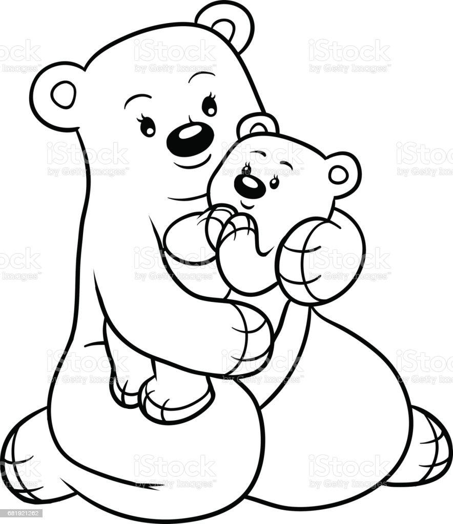 Coloriage Famille Ours.Livre De Coloriage Pour Les Enfants Famille Dours Vecteurs