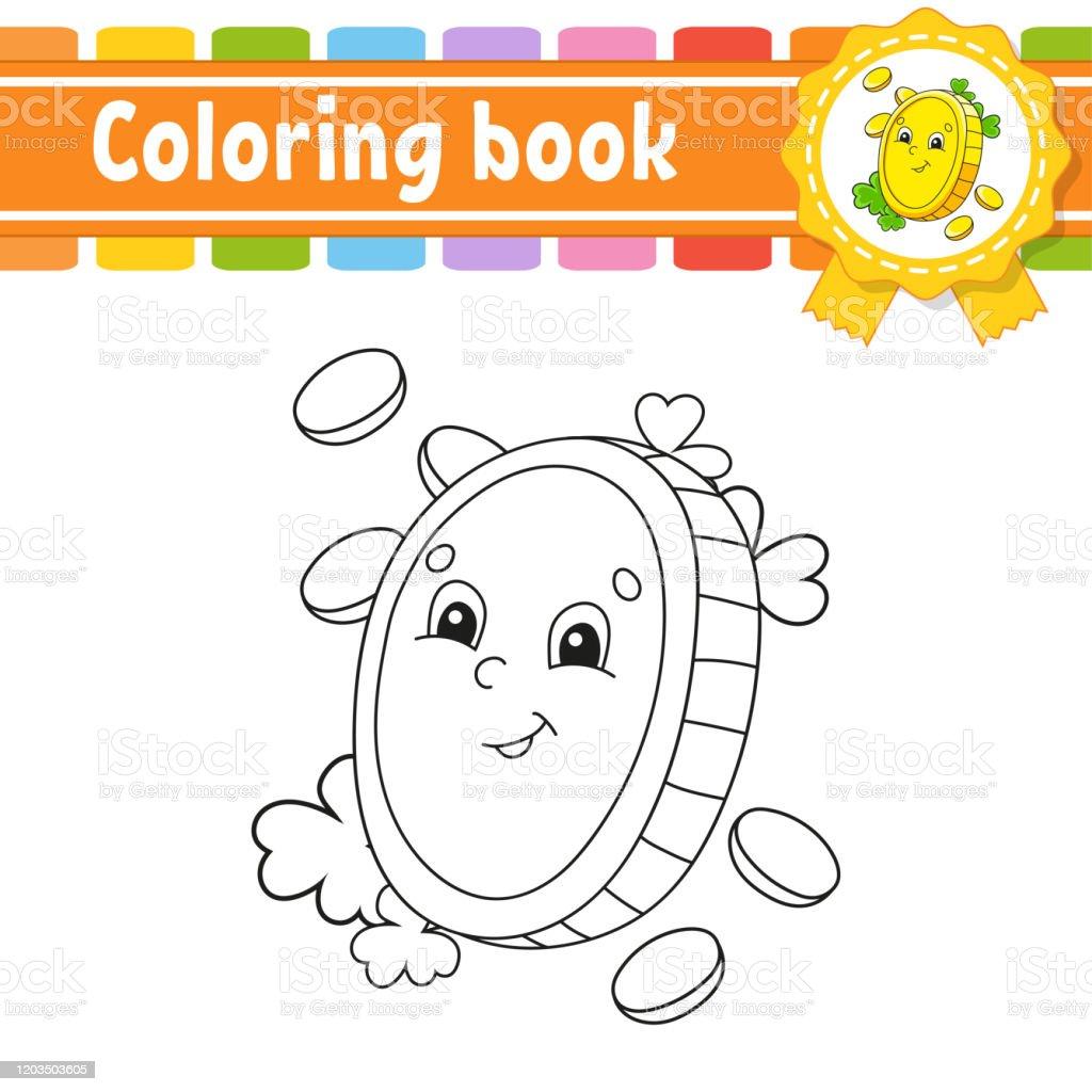 Vetores De Livro De Colorir Para Criancas Moeda De Ouro Carater