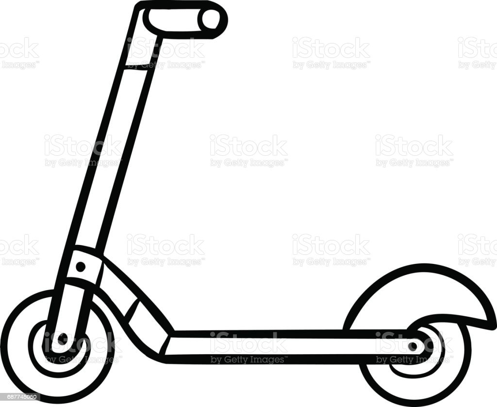 coloring book for kids kick scooter stock vector art 687745050