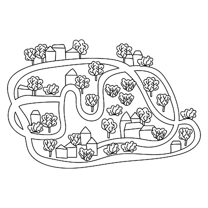 Coloring book for kids. Rural landscape with cute houses, trees, plants and a lake. Hand drawn vector illustration