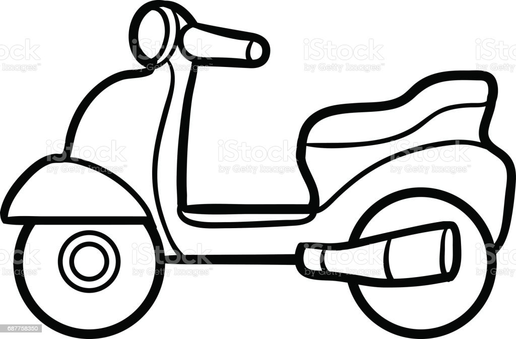 Coloring Book For Kids Scooter Stock Vector Art & More Images of ...