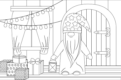 Coloring book for the winter holidays Christmas and New Year. The Christmas gnome collects gifts in the house.