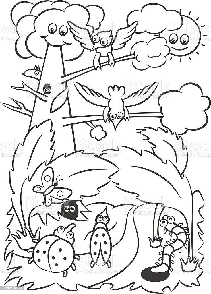 Ilustración de Libro Para Colorear Bosque y más banco de imágenes de ...