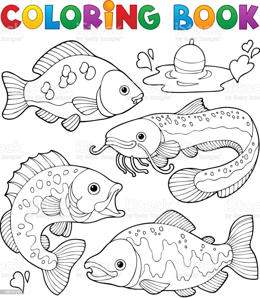 Coloring book freshwater fishes 1 vector art illustration