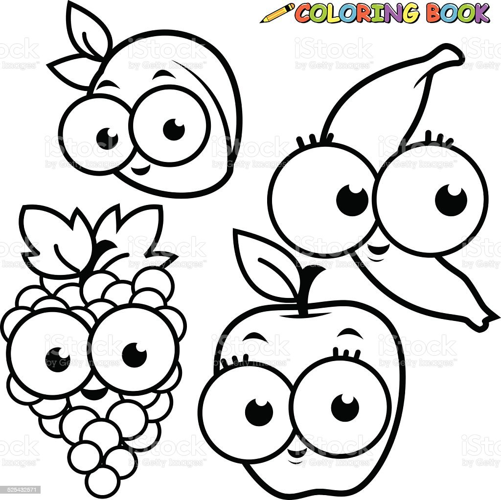Coloring Book Fruit Cartoon Set Apricot Banana Grape Apple Stock ...