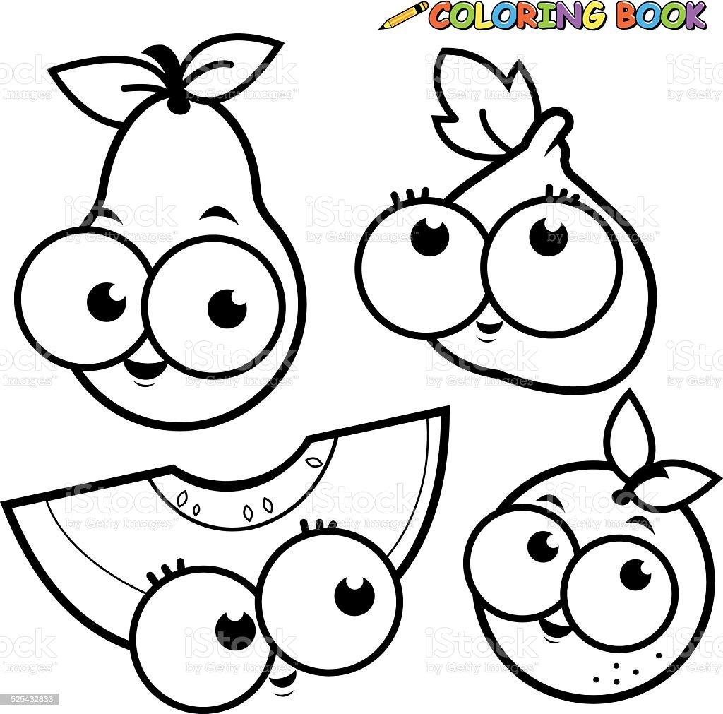 Ilustración De Libro Para Colorear Frutas Pera Conjunto De Dibujos