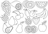Coloring book. Fruits and berries cartoon. Icons. Vector illustration.