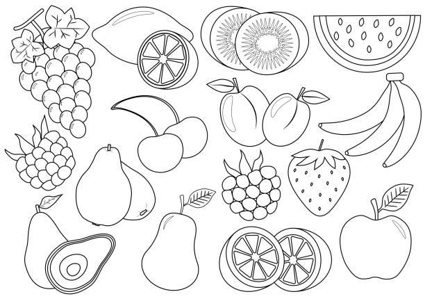색칠 공부 책입니다. 과일과 열매 만화입니다. 아이콘입니다. 벡터 일러스트입니다. - 색칠하기 stock illustrations