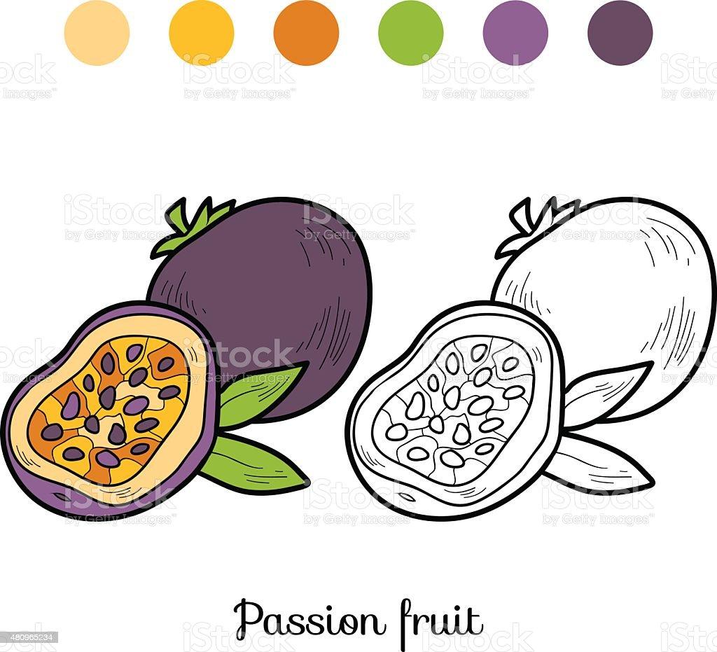 Coloriage Fruit Kaki.Livre De Coloriage Fruits Et Legumes Fruit De La Passion Vecteurs