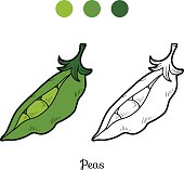 Coloring book: fruits and vegetables (peas)