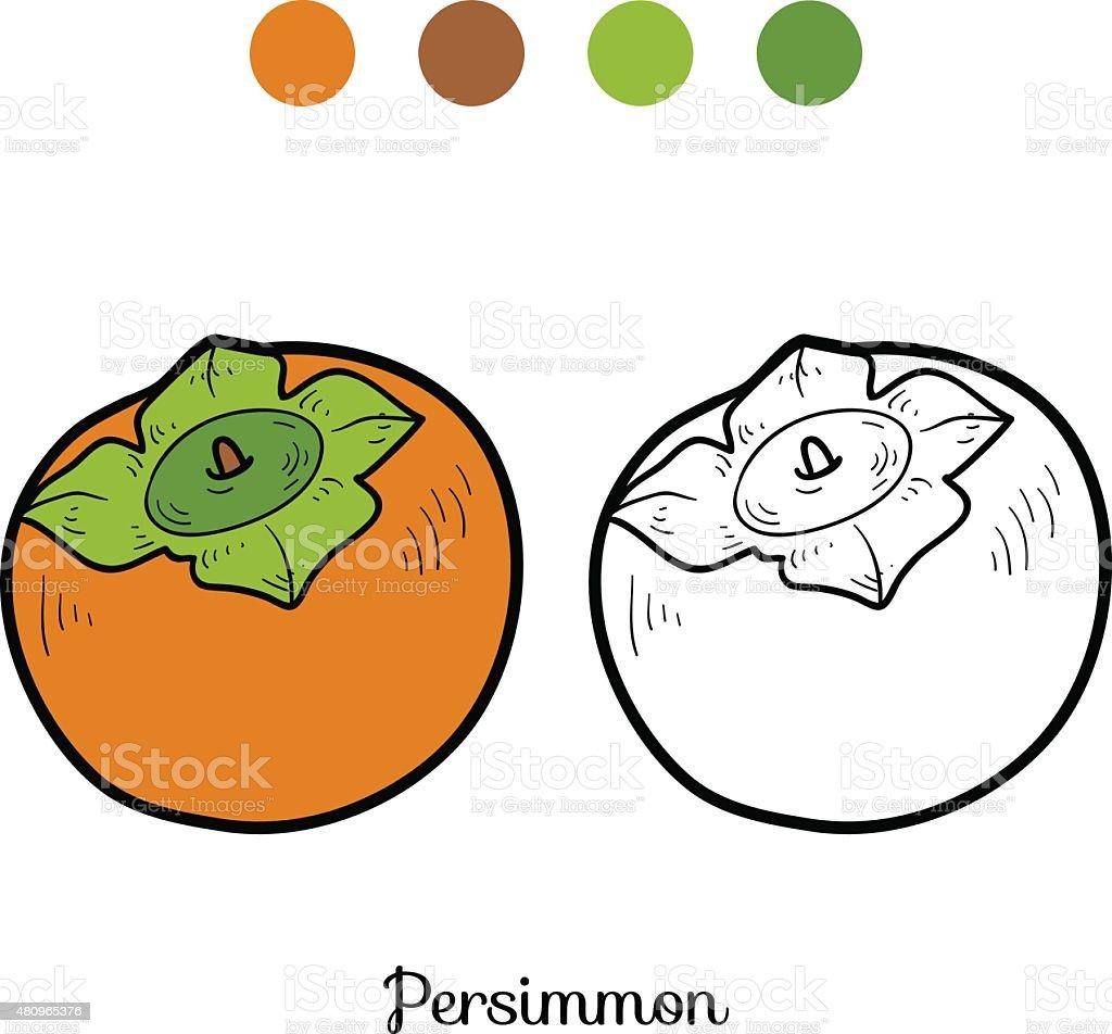 Coloriage Fruit Kaki.Livre De Coloriage Fruits Et Legumes Kaki Vecteurs Libres De Droits