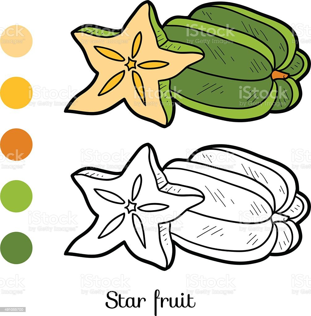 Coloring Book Fruits And Vegetables Stock Vector Art More Images Of 2015