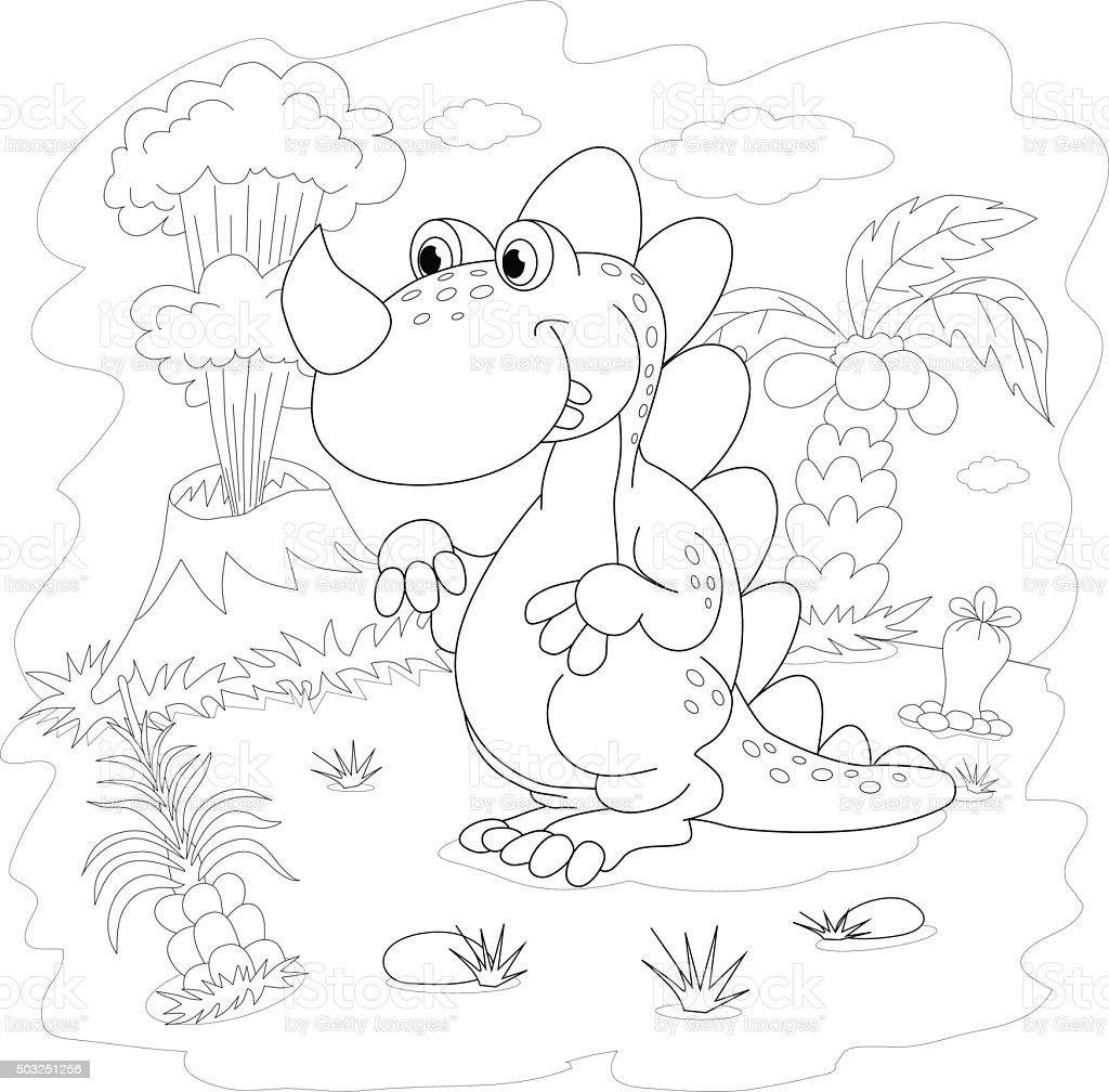 Ilustración de Libro Para Colorear Funny Dinosaurio Prehistóricas En ...