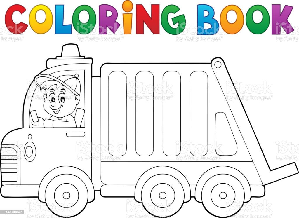 Coloring Book Garbage Collection Truck Stock Illustration - Download Image  Now - IStock