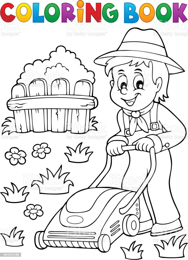 Coloring Book Gardener With Lawn Mower Stock Illustration ...