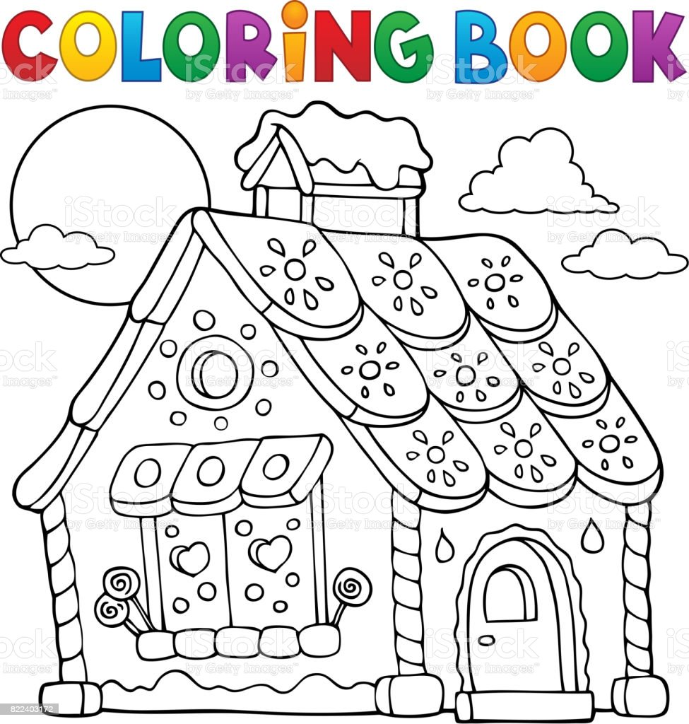 - Coloring Book Gingerbread House Theme 1 Stock Illustration - Download Image  Now - IStock