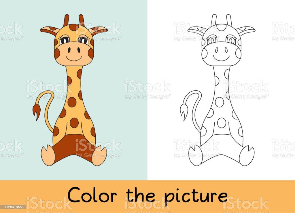 Livre De Coloriage Girafe Dessin Animé Animall Jeu Denfants