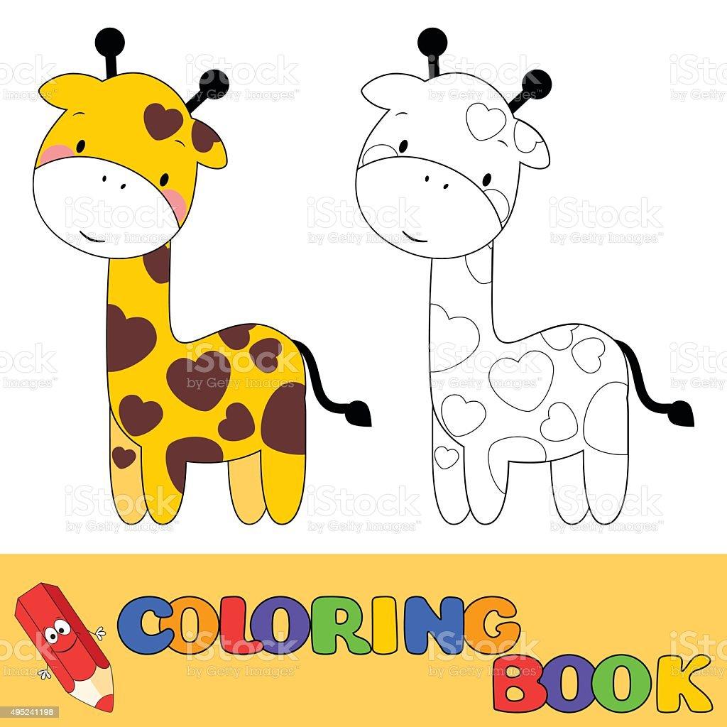 Ilustración de Libro Para Colorear Jirafa Para Niños y más banco de ...