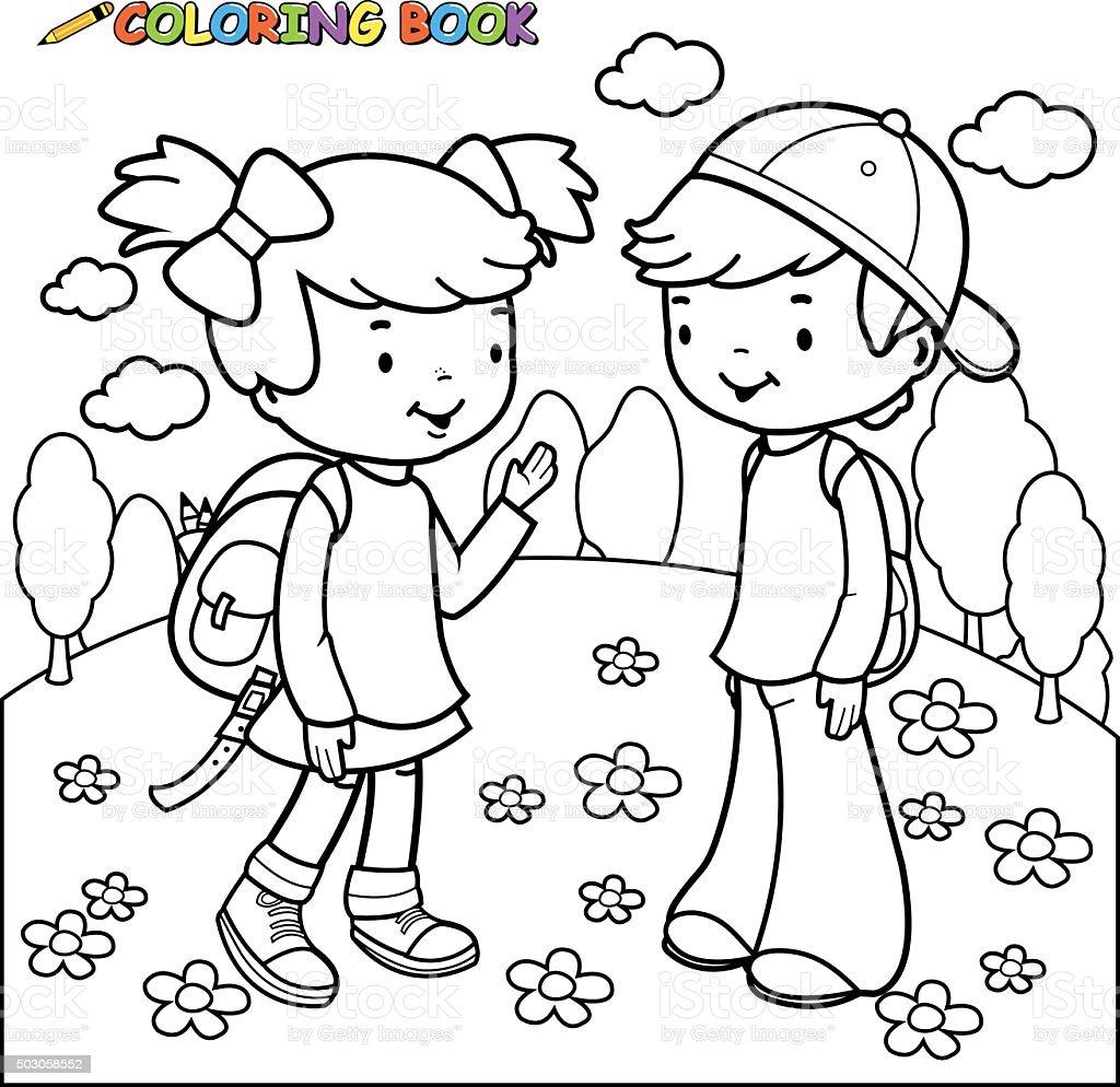 Libro Para Colorear Niña Y Niño Estudiantes Illustracion ...