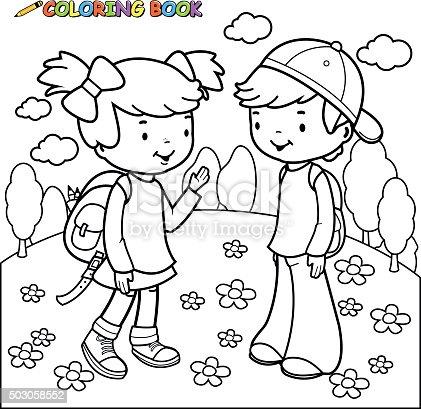 ᐈ Imagen De Libro Para Colorear Niña Y Niño Estudiantes