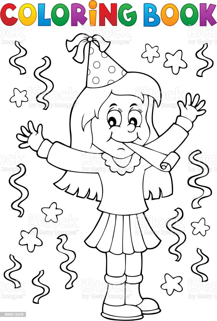 Coloring book girl celebrating theme 1 vector art illustration