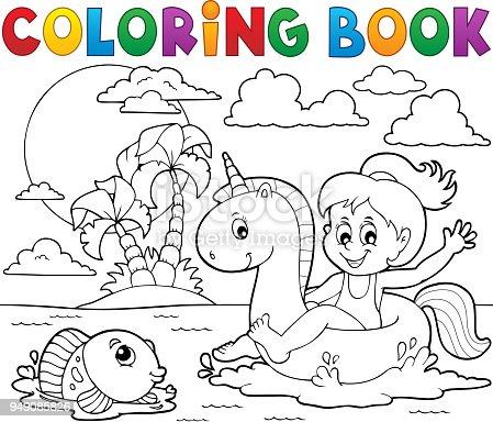 Ilustración de Colorear Niña Libro Flotando En Unicornio 2 y más ...