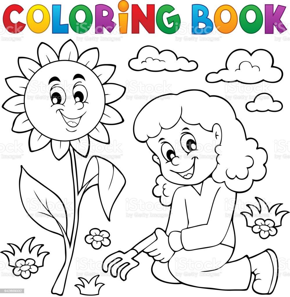Kitap Kız Bahçe Tema 1 Boyama Stok Vektör Sanatı Ağaç çiçeğinin