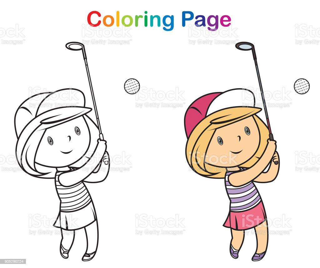 Boyama Kitabi Golf Calan Kiz Stok Vektor Sanati 13 19 Yas