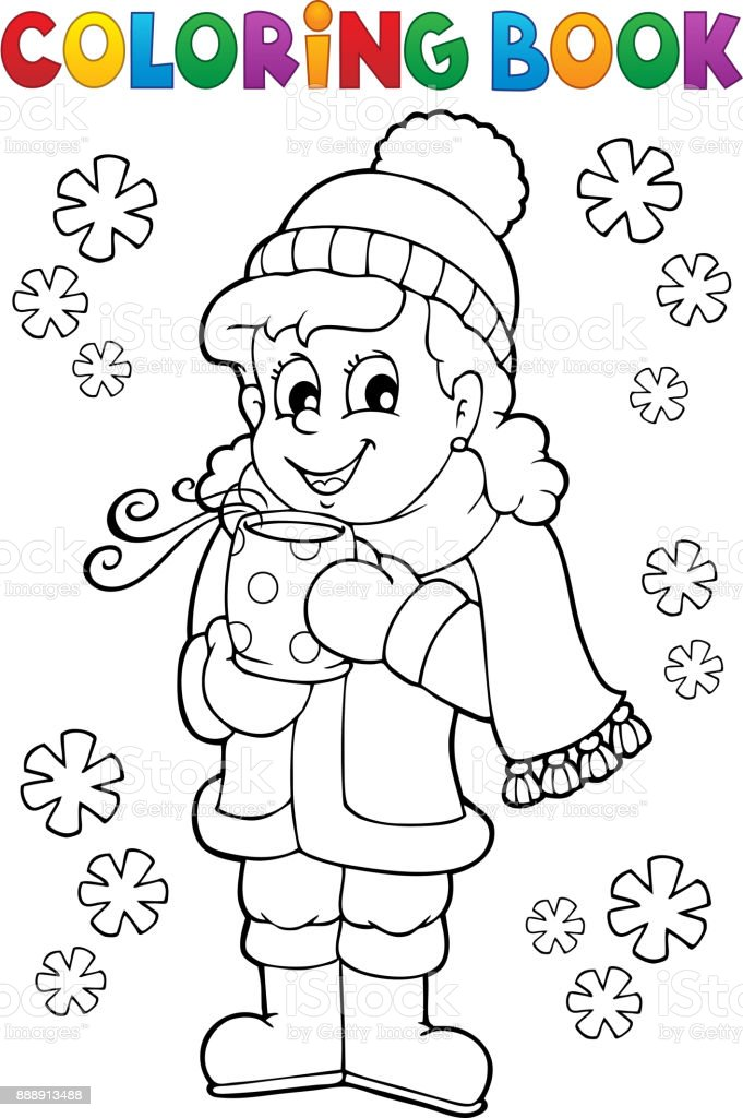 Coloring book girl in winter clothes vector art illustration