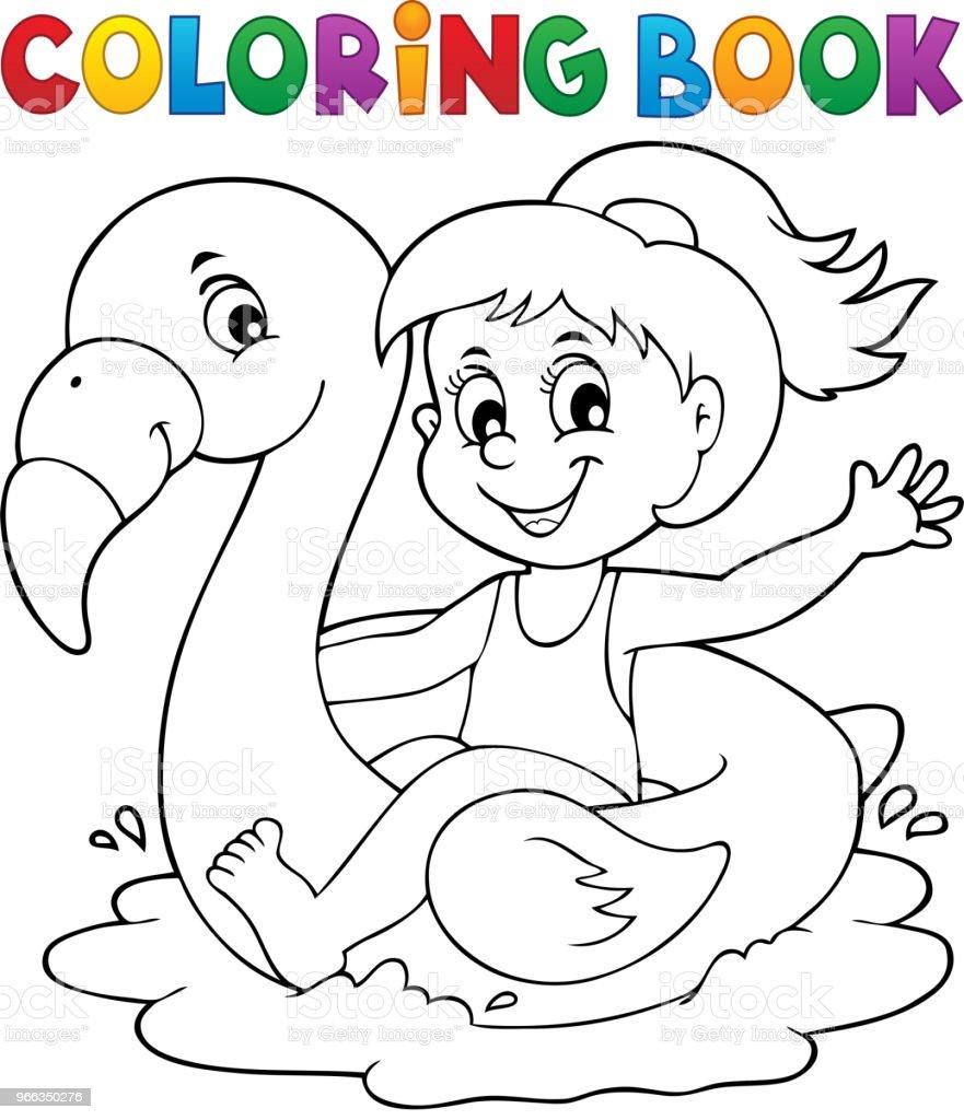 Flamingo Float 1 Kitap Kız Boyama Stok Vektör Sanatı Bir Kişinin