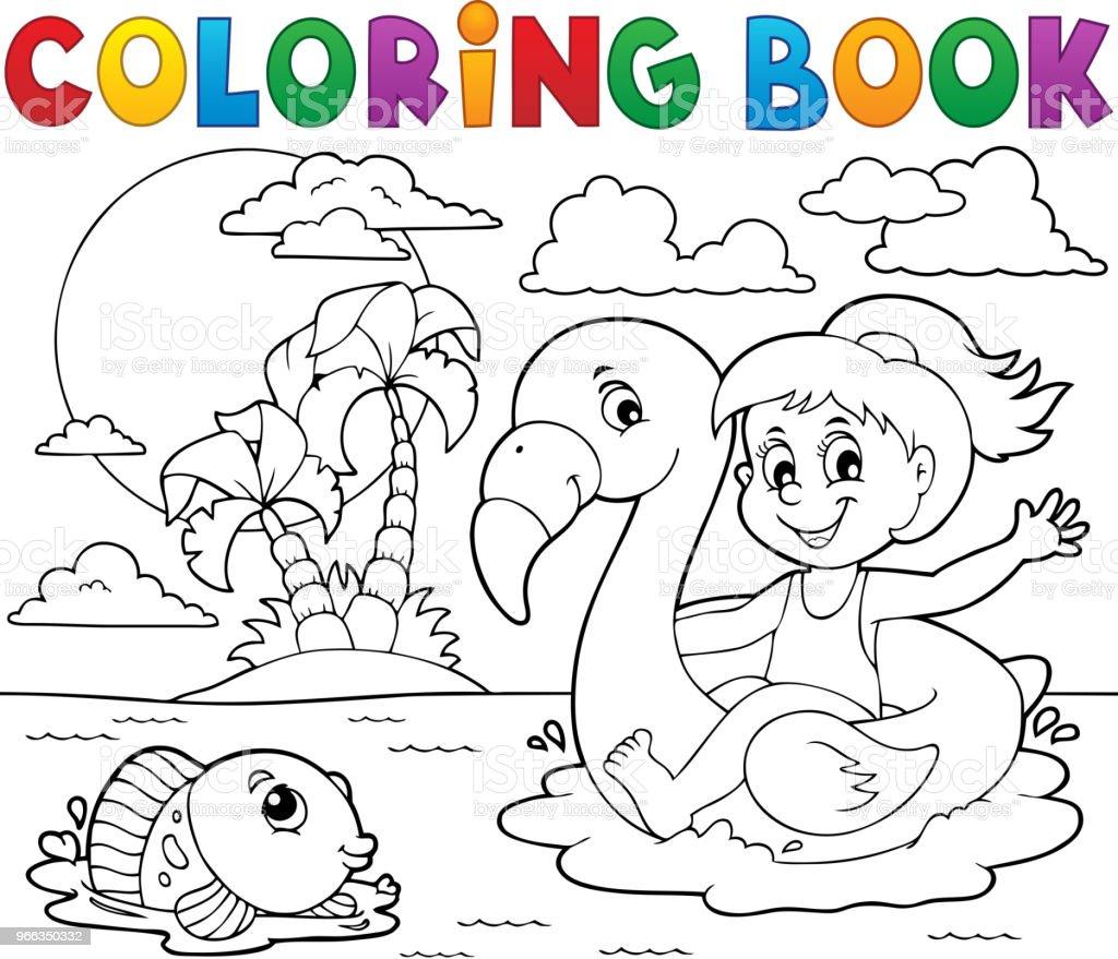 Flamingo Float 2 Kitap Kız Boyama Stok Vektör Sanatı Balıknin