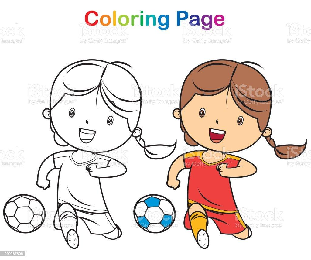 Malbuch Mädchen Spielen Fußball Stock Vektor Art und mehr Bilder von ...