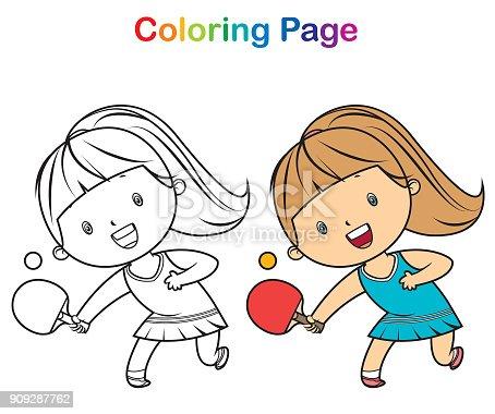 Ilustración de Libro Para Colorear Chica Jugando Tenis De Mesa y más ...