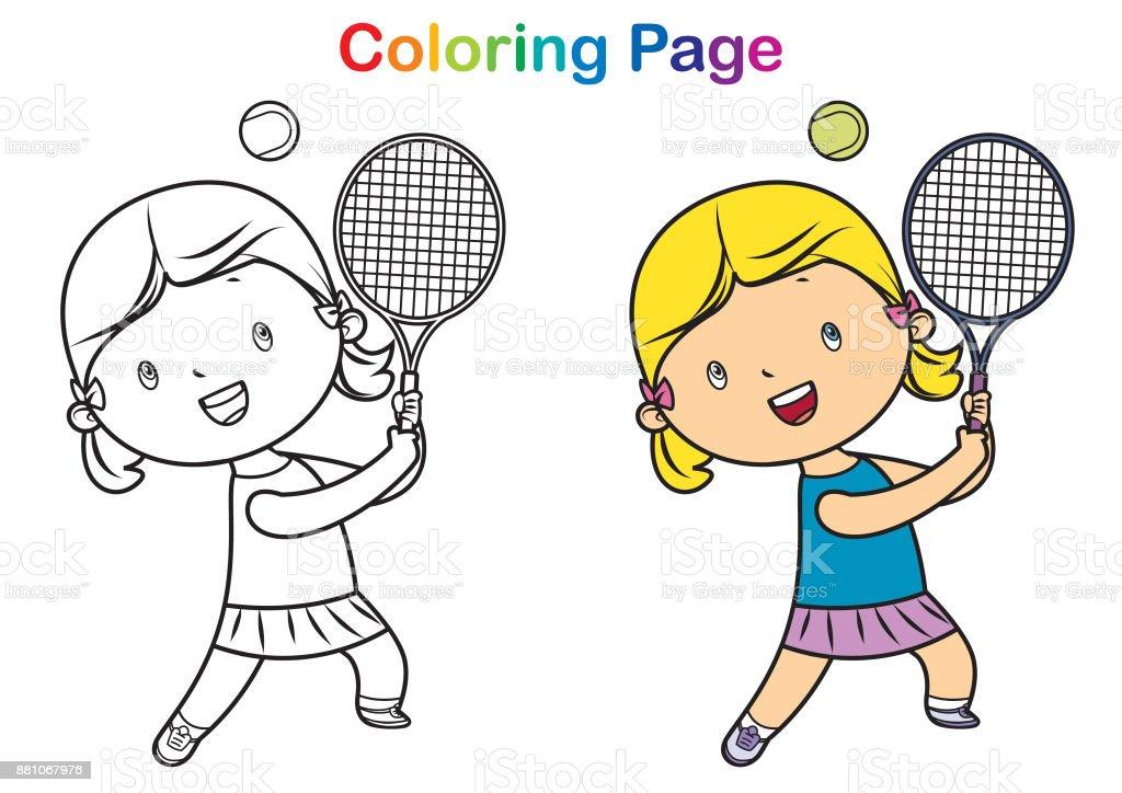 Ilustración de Libro Para Colorear Chica Jugando Tenis y más banco ...
