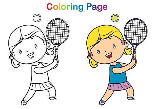 Coloring book: girl playing tennis