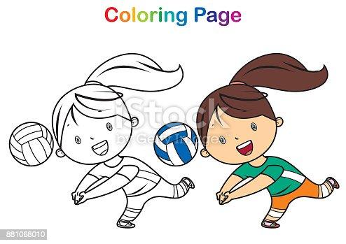 Ilustración de Libro Para Colorear Chica Jugando Voleibol y más ...