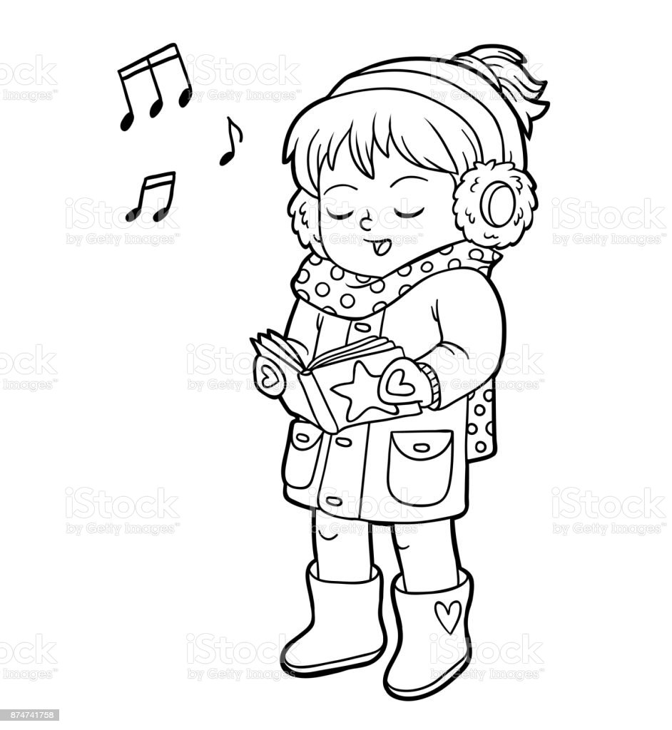 Coloring Book Girl Singing A Christmas Song Stock Illustration